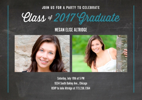 2017 chalked up graduate invitation - Tri Fold Graduation Invitations