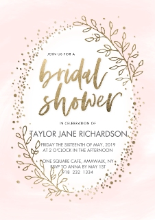 Wedding shower invites invitations and announcements walgreens photo bridal shower pink gold leaves by tumbalina filmwisefo