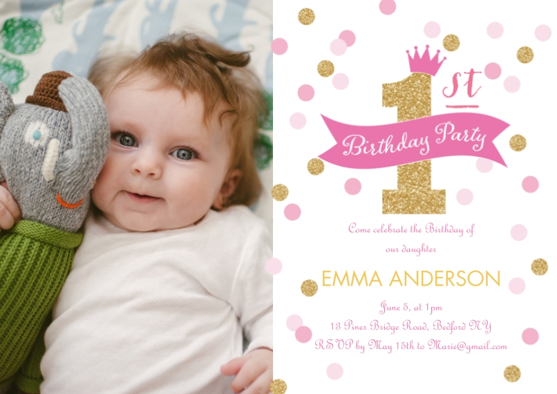 1st birthday invitations baby and kids walgreens photo birthday invite first confetti birthday invite first confetti filmwisefo