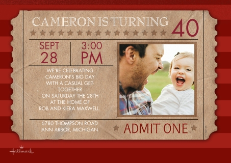 Birthday party invitations custom photo cards walgreens photo birthday ticket birthday ticket filmwisefo Images