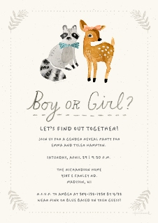 Baby shower invitations baby and kids walgreens photo woodland creature gender reveal stopboris Images