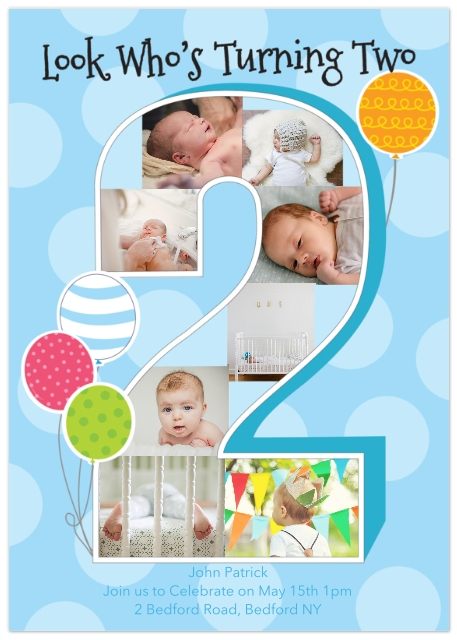 2nd Birthday Invitations Set Of 20 Flat Photo Cards