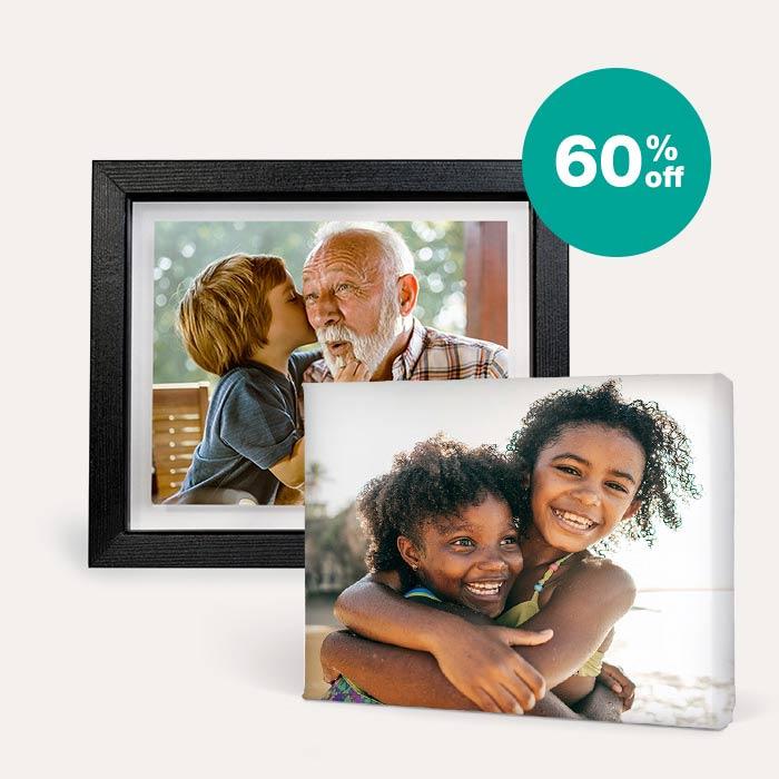 60% off Canvas & Floating Frames
