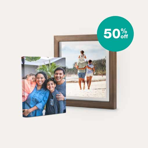 50% off Canvas & Floating Frames