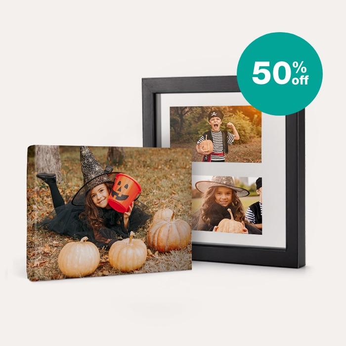 50% off Canvas & Floating Frames