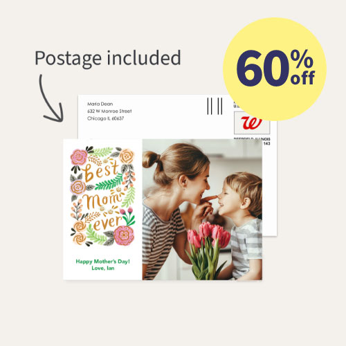 60% off Mail-for-Me Cards, Postage included!
