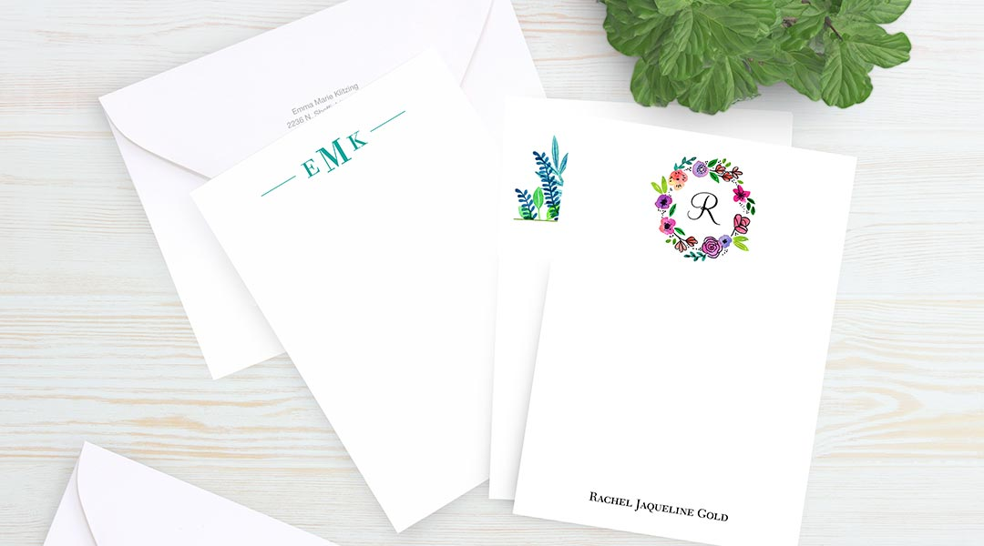 5x7 Premium Personalized Stationery Envelope with Return Address
