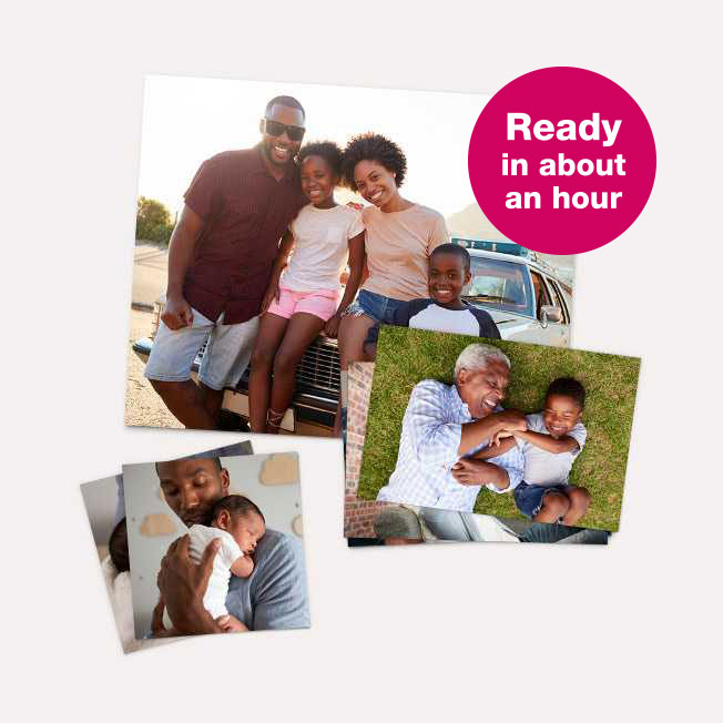 Ready in about an hour. Prints & Enlargements