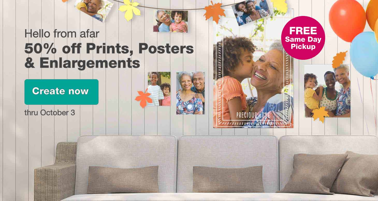 FREE Same Day Pickup. Hello from afar - 50% off Prints, Posters & Enlargements. Thru October 3. Create now.