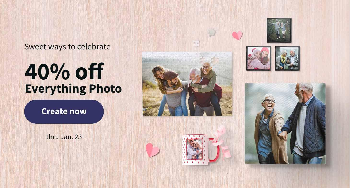 Sweet ways to celebrate. 40% off Everything Photo thru January 23. Create now.