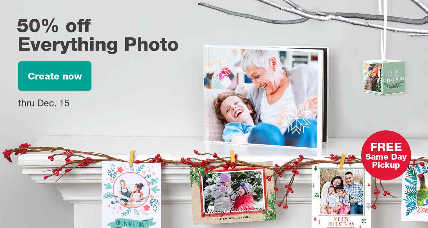 50% off Everything Photo thru Dec. 15. Create now.