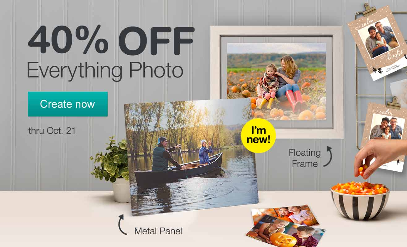 40% OFF Everything Photo thru Oct. 21. Create now.