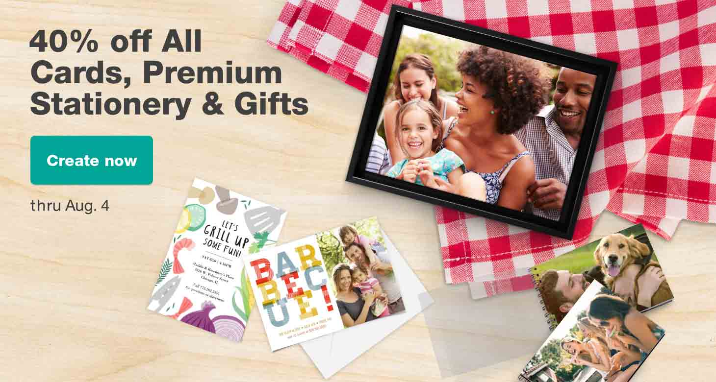 40% off all Cards, Premium Stationery & Gifts thru Aug. 4. Create now.