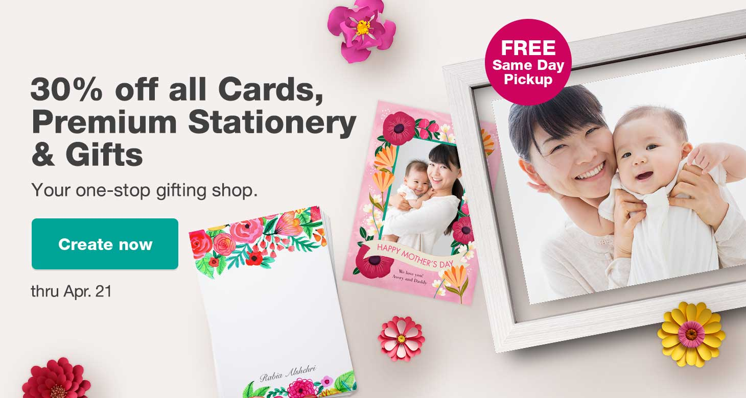 30% off all Cards, Premium Stationery & Gifts thru Apr. 21. Your one-stop gifting shop. Create now.
