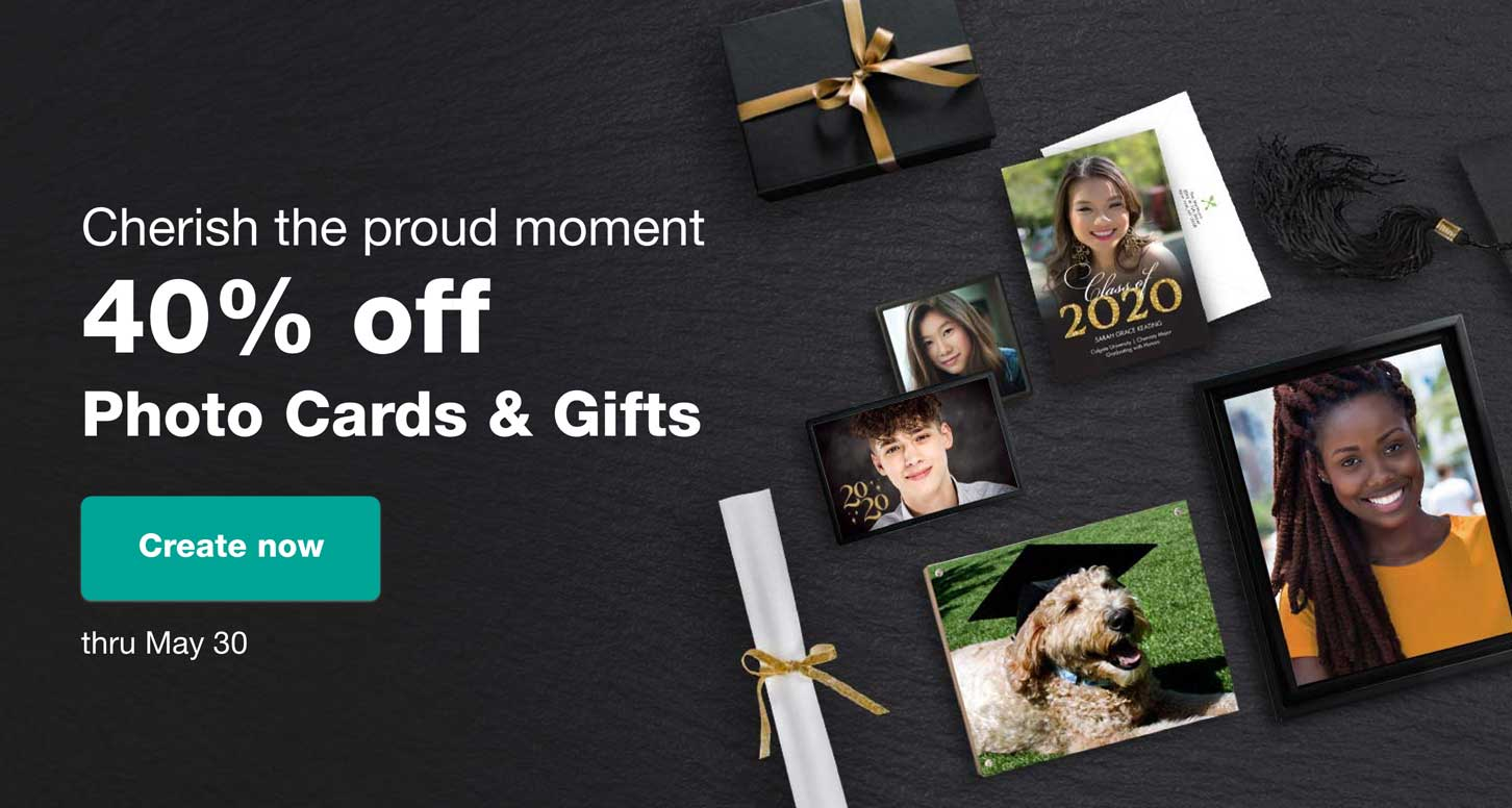 Cherish the proud moment. 40% off Photo Cards & Gifts thru May 30. Create now.