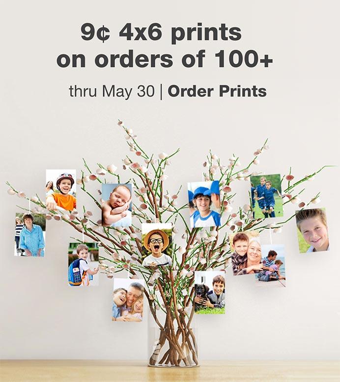 FREE Same Day Pickup. 9¢ 4x6 prints on orders of 100+ thru May 30. Order Prints.