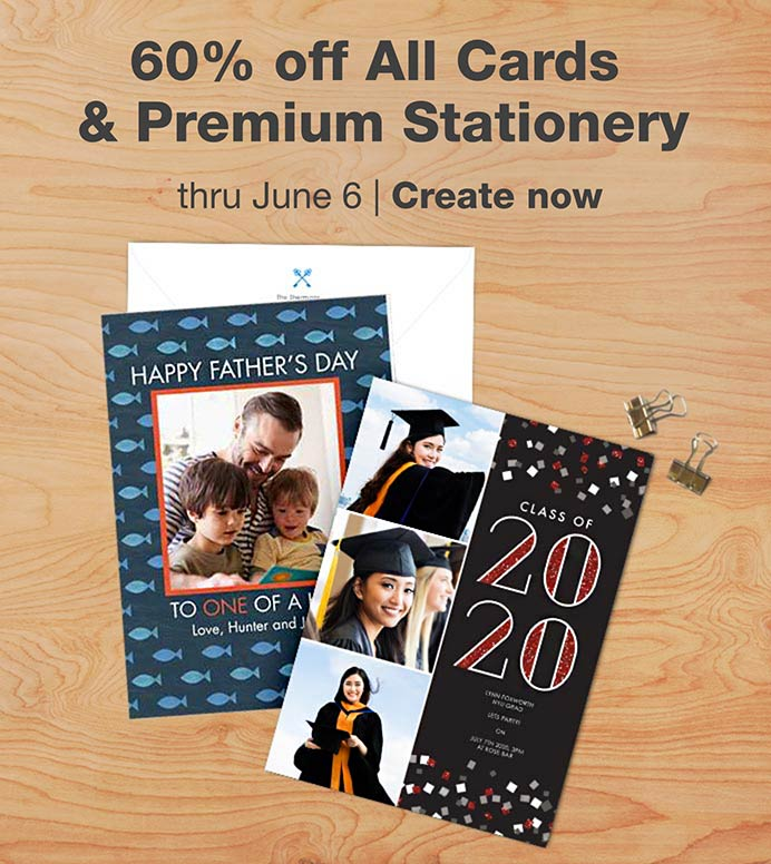60% off All Cards & Premium Stationery thru June 6. Create now.