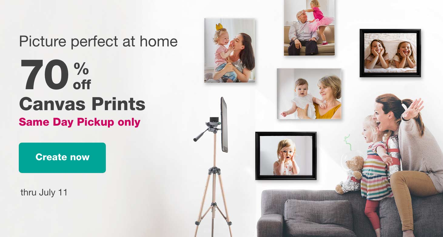 Picture perfect at home. 70% off Canvas Prints Same Day Pickup only thru July 11. Create now.