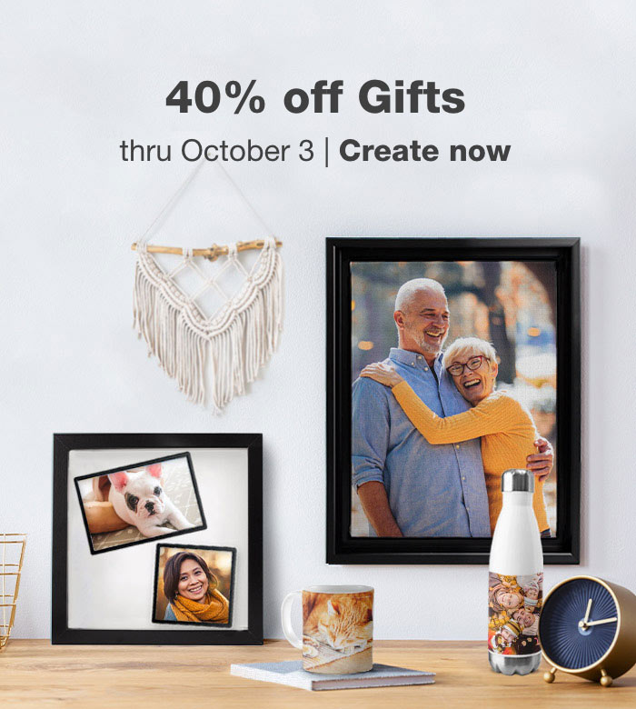 40% off Photo Gifts thru October 3. Create now