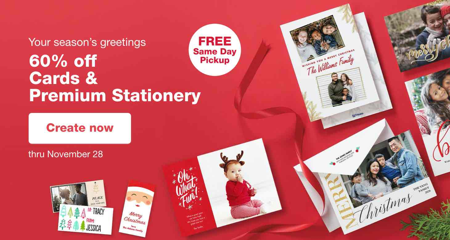 FREE Same Day Pickup. Your season's greetings 60% off Cards & Premium Stationery thru November 29. Create now.