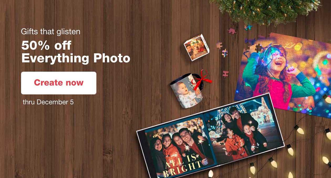 Gifts that glisten. 50% off Everything Photo thru December 5. Create now.