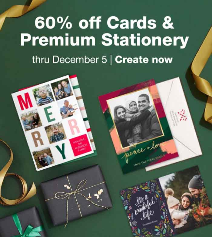 60% off Cards & Premium Stationery thru December 5. Create now.