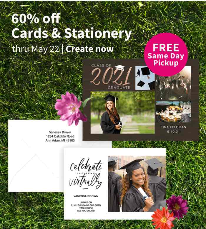FREE Same Day Pickup. 60% off Cards & Stationery thru May 15. Create now.
