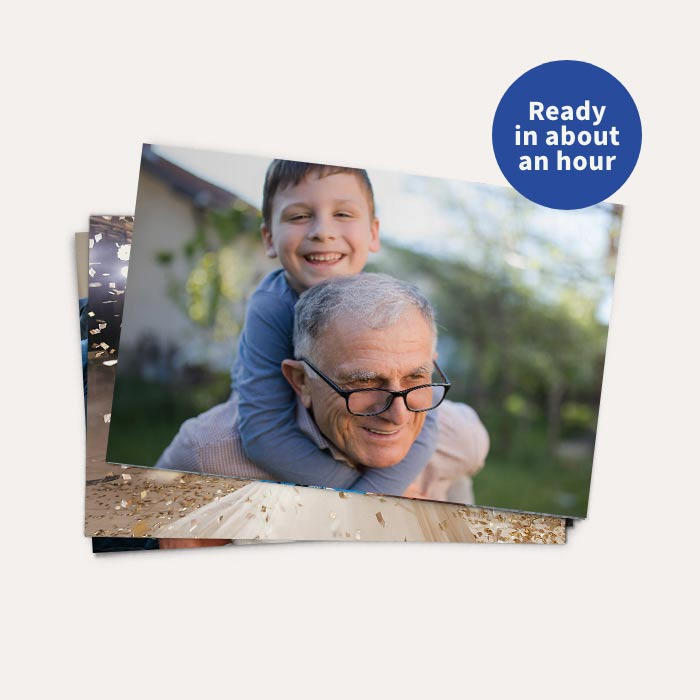 Ready in about an hour. 50% off Prints & Enlargements