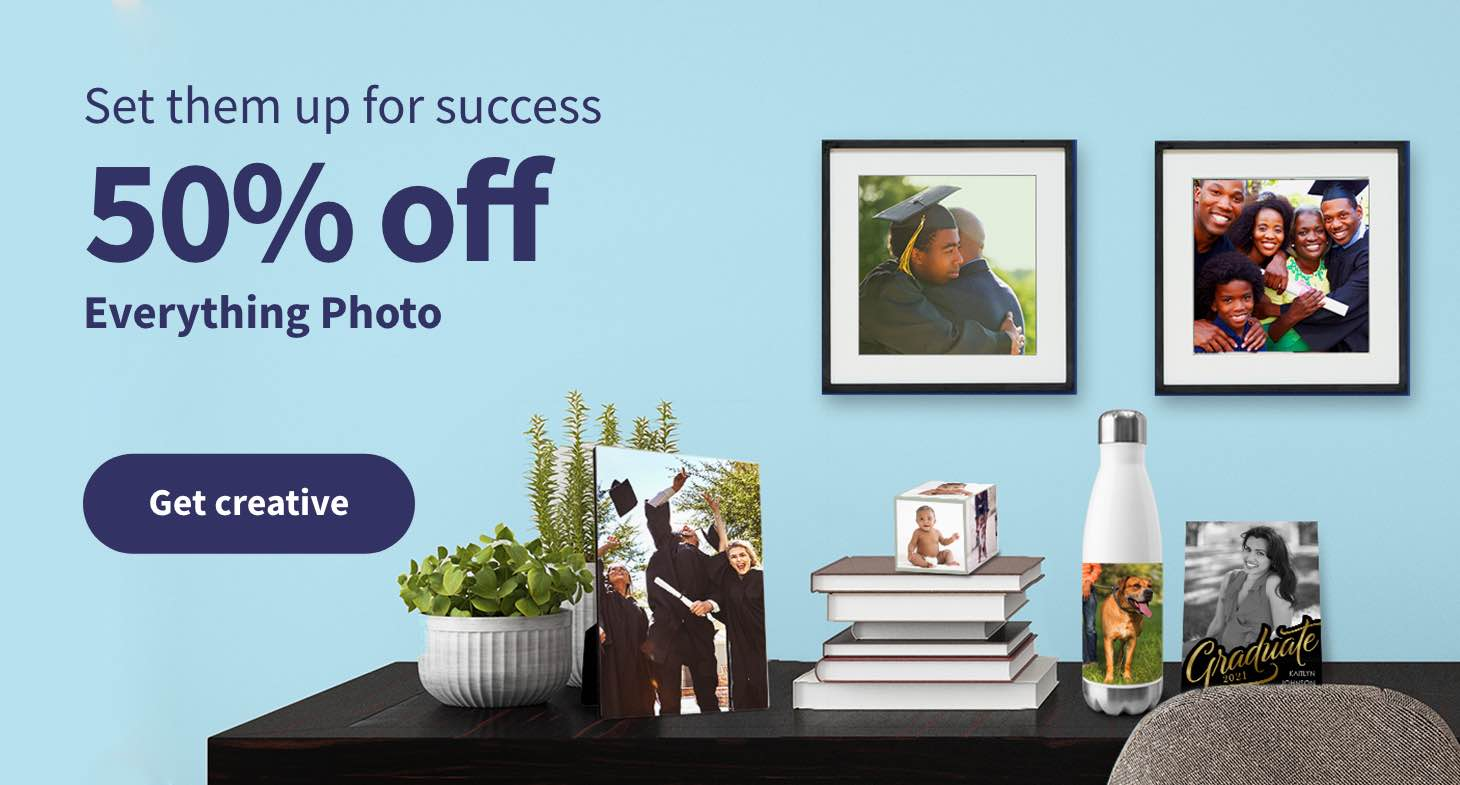 Set them up for success. 50% off Everything Photo thru June 26. Get creative.