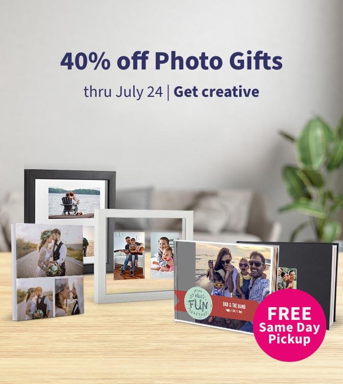 FREE Same Day Pickup. 40% off Photo Gifts thru July 24. Order Prints.