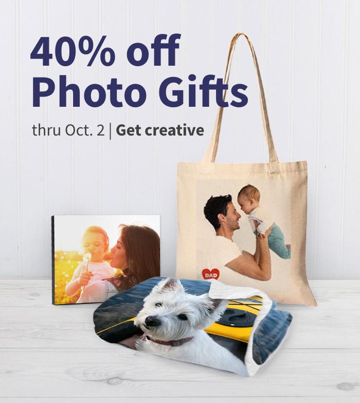 40% off Photo Gifts thru Oct. 2. Get creative.
