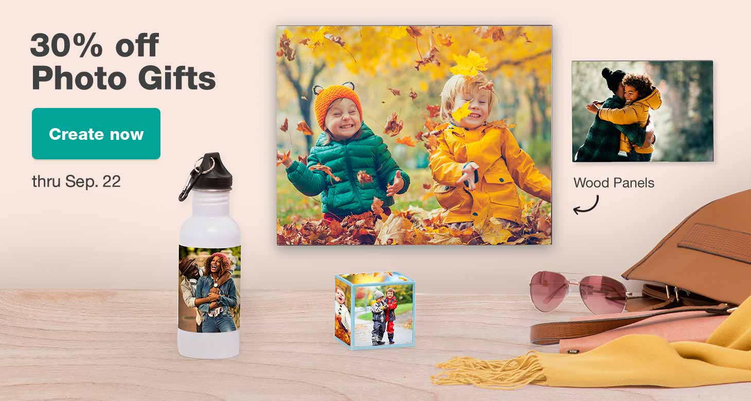 30% off Photo Gifts thru Sep. 22. Create now.
