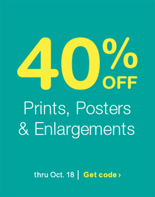 40% OFF Prints, Posters & Enlargements thru Oct. 18. Get code.