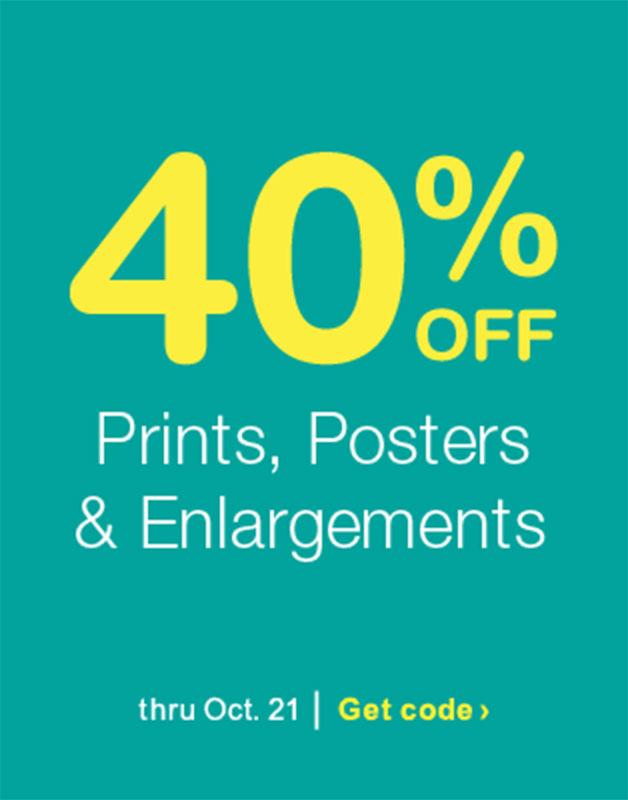 40% OFF Prints, Posters & Enlargements thru Oct. 21. Get code.
