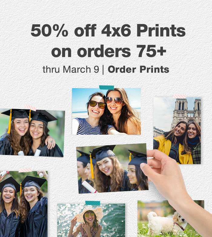 50% off 4x6 Prints on orders 75+ thru March 9. Order Prints.