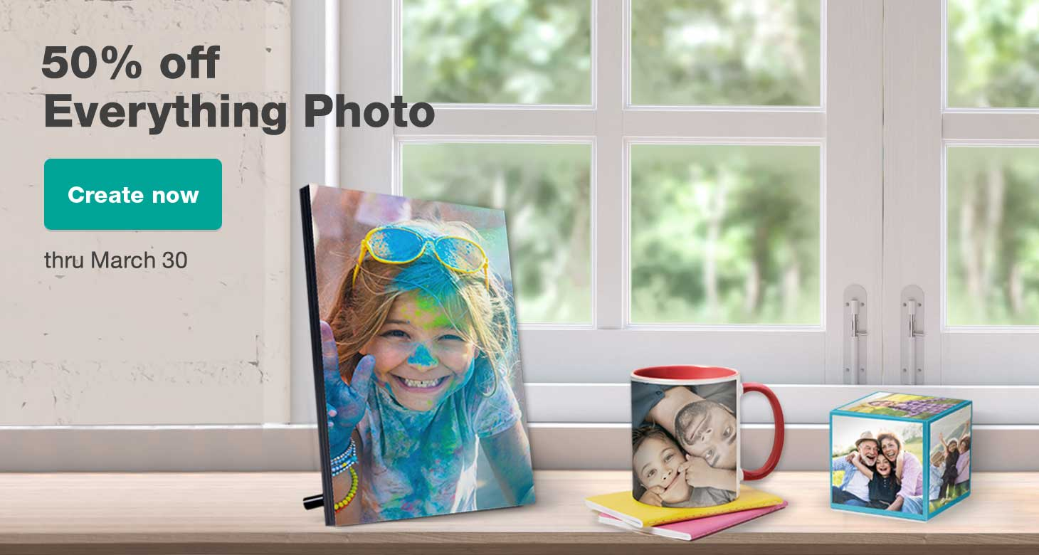50% off Everything Photo thru March 30. Create now.