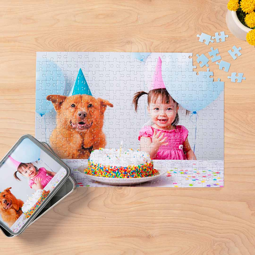 "252-Piece 10""x14"" Custom Photo Puzzle with Storage Tin"